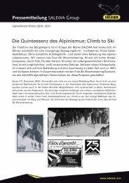 Climb to Ski Pressemitteilung SALEWA Group