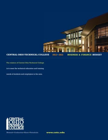 COTC FY2013 Budget - Central Ohio Technical College