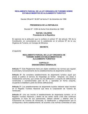 REGLAMENTO PARCIAL DE LA LEY ORGANICA DE TURISMO ...