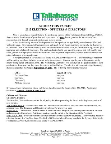 nomination packet 2012 election - officers & directors - Tallahassee ...