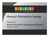 Missouri Partnership Update - Missouri Economic Development ...
