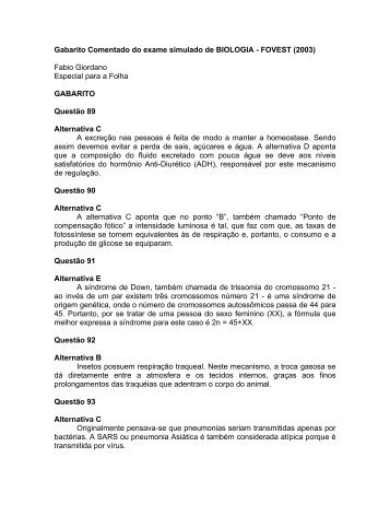 Gabarito Comentado do exame simulado de BIOLOGIA - FOVEST ...