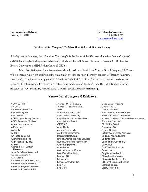 For Immediate Release - Yankee Dental Congress