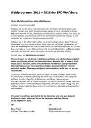 Wahlprogramm 2011 - Spd-Fraktion im Rat der Stadt Wolfsburg