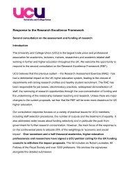 Response to the Research Excellence Framework - UCU
