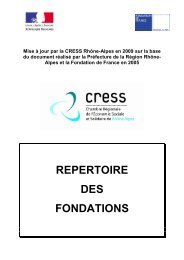 Répertoire des fondations mis à jour en 2010 - CRESS Rhône-Alpes