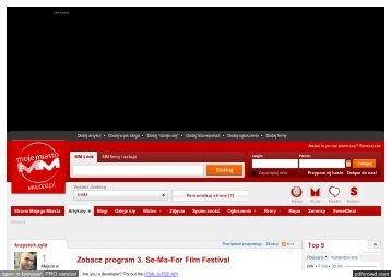 Zobacz program 3. Se-Ma-For Film Festival - Wieści - MM Moje Miasto