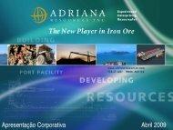 Apresentação da Empresa - Adriana Resources Inc.