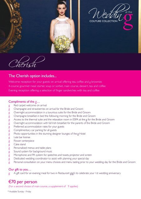 exclusive wedding packages - The G Hotel