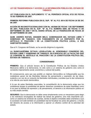 Ley De Transparencia Y Acceso A La InformaciÓn PÚblica Del