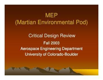CDR - Aerospace Engineering Sciences Senior Design Projects ...