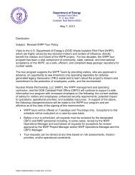 WIPP Tour Program Policy - Waste Isolation Pilot Plant - U.S. ...