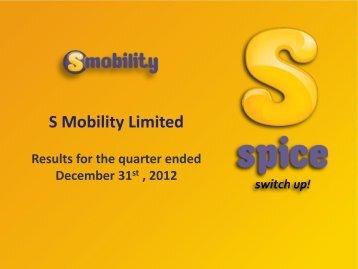 Quarter ended December 2012 - Si2iMobility