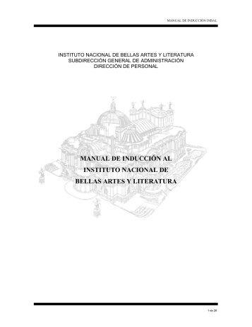 manual de inducción al instituto nacional de bellas artes y literatura