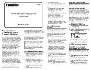 Traductor Global Avanzado de 12 Idiomas - Franklin Electronic ...