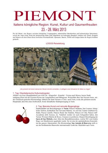 Reiseinformation Piemont - Logos Reisen