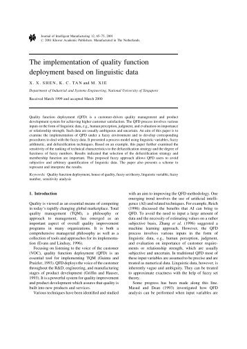 The implementation of quality function deployment based on ...
