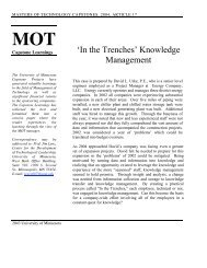 'In the Trenches' Knowledge Management - Technological ...