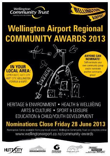 Wellington Airport Regional Community Awards 2013