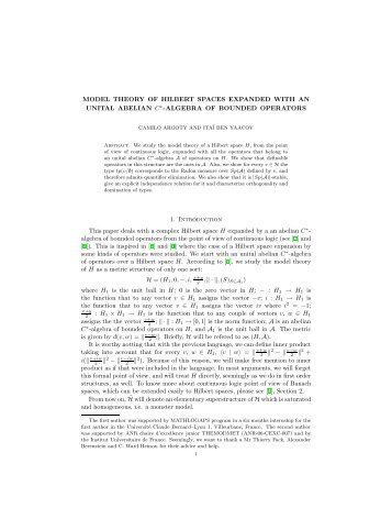 MODEL THEORY OF HILBERT SPACES EXPANDED WITH AN ...