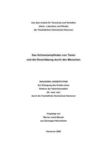 Wissenschaftliche Arbeit - Tiho Bibliothek elib - Tierärztliche ...