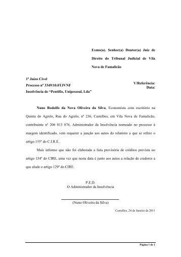 Relatório nos termos do artigo 155º do C.I.R.E. - Nuno Oliveira da ...