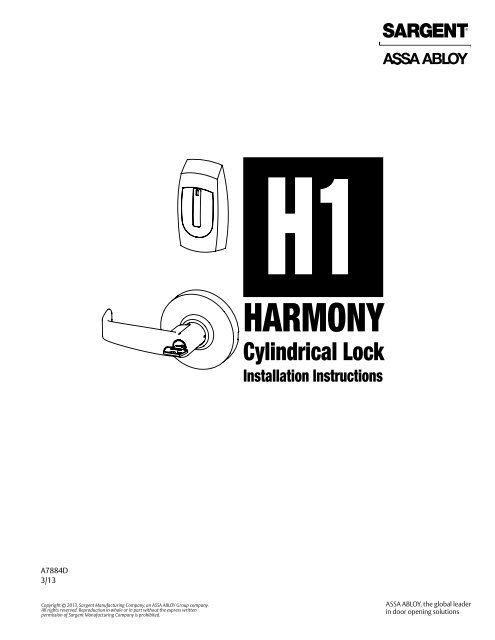 harmony h1 cylindrical installation instructions