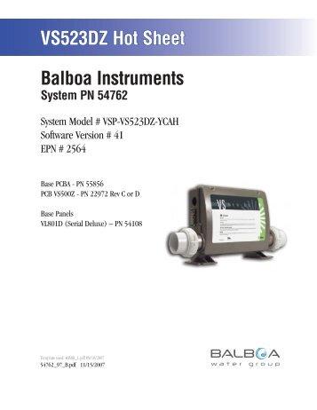 54762, VSP-VS523DZ-YCAH - Balboa Direct
