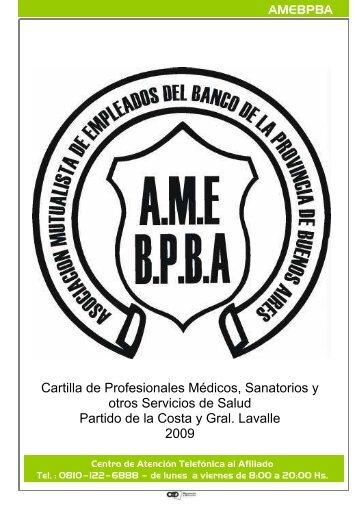 Cartilla de Profesionales Médicos, Sanatorios y otros Servicios de ...