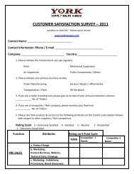 customer satisfaction survey – 2011 - York Transport Equipment
