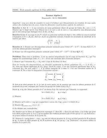 examen d'algèbre linéaire pdf