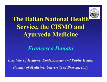 The Italian National Health Service, the CISMO and Ayurveda ...