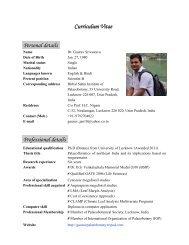 Curriculum Vitae Personal details Professional details - Birbal Sahni ...