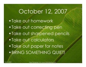 October 12, 2007 - Mona Shores Blogs