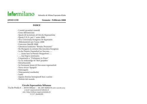 ANNO LVII Gennaio - Febbraio 2008 INDICE Circolo Esperantista ...