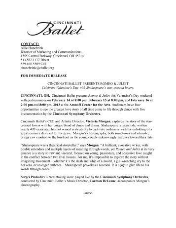 CB News Release: Romeo & Juliet - Cincinnati Ballet
