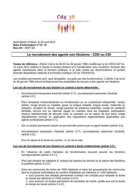 a6014c3a4de Le recrutement des agents non titulaires   CDD ou CDI - CDG38