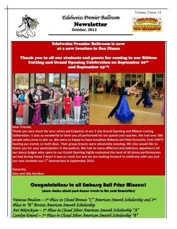 Volume 2 – Issue 14 - Edelweiss Premier Ballroom
