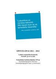 Opinto-opas 2011-2012, Sosiaali - Lahden ammattikorkeakoulu