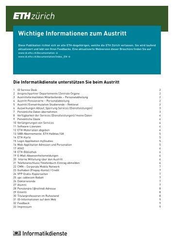 Wichtige Informationen zum Austritt - ETH Zürich