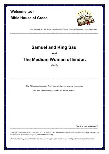 Samuel and King Saul The Medium Woman of Endor.