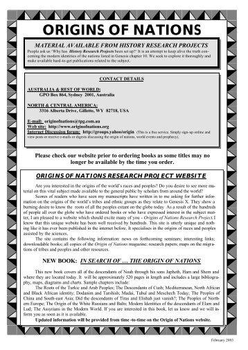 2003 ADVERT-4 - Origin of Nations