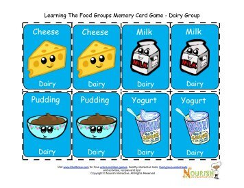 Learning The Food Groups Memory Card Game - Dairy Group