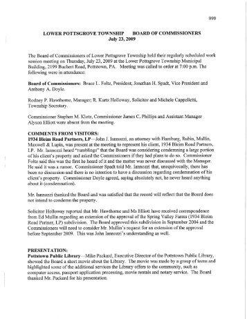 July 23, 2009 Minutes - Lower Pottsgrove Township