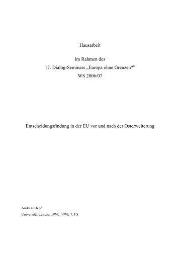 "Hausarbeit im Rahmen des 17. Dialog-Seminars ""Europa ... - VWL I"