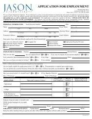 APPLICATION FOR EMPLOYMENT - Jason International