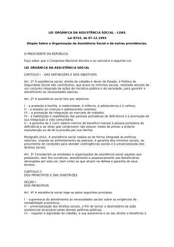 Lei Orgânica da Assistência Social - UNIPAMPA Cursos