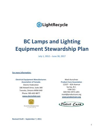 BC Lamps and Lighting Equipment Stewardship Plan - LightRecycle