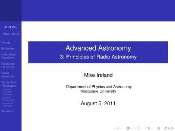 3: Principles of Radio Astronomy - Physics and Astronomy