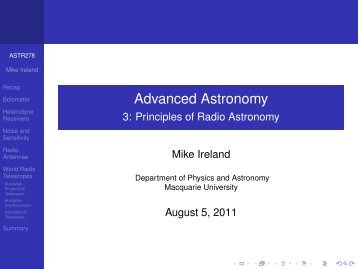 3: Principles of Radio Astronomy - Physics and Astronomy